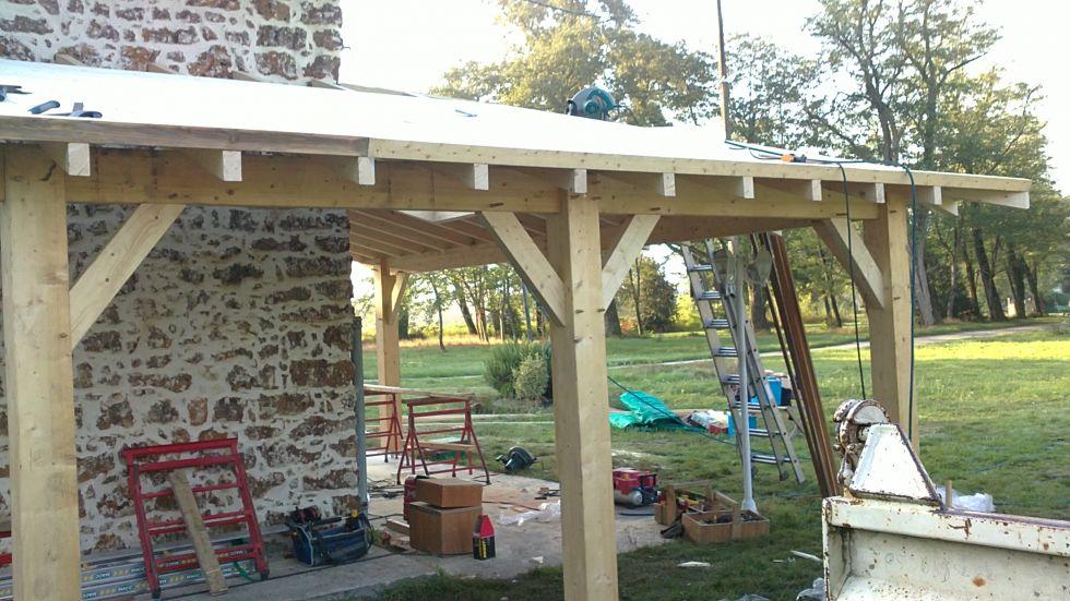 construction d 39 un porche en bois sur mesure fabricant maison bois martillac laflaquiere. Black Bedroom Furniture Sets. Home Design Ideas